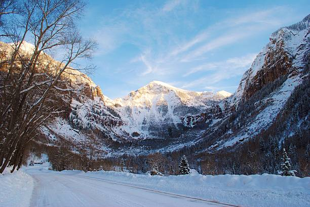 Telluride mountains in the snow, Colorado stock photo