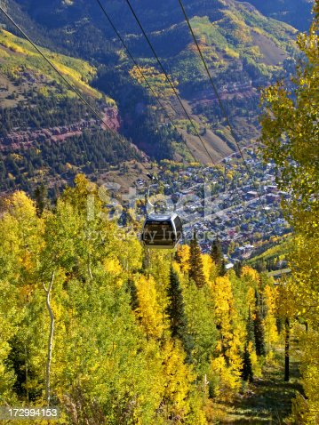 A gondola pictured against the backdrop of Telluride, Colorado and gold aspens in the fall.