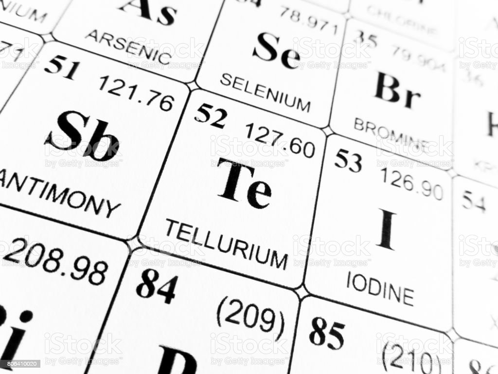 Tellurium on the periodic table of the elements stock photo tellurium on the periodic table of the elements royalty free stock photo gamestrikefo Choice Image