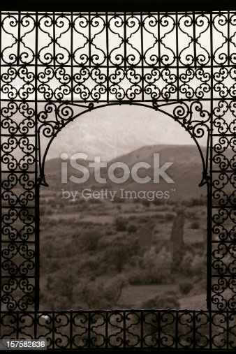 Wrought iron window at the Casbah of Telouet; Atlas mountains region, Morocco.