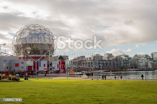 Vancouver, Canada - December 30, 2018. The Telus World of Science educates minds old and young through interactive displays, and rests just to the side of Vancouver's downtown core.