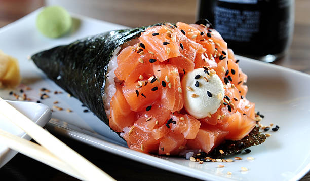 temaki - japanese food stock photos and pictures