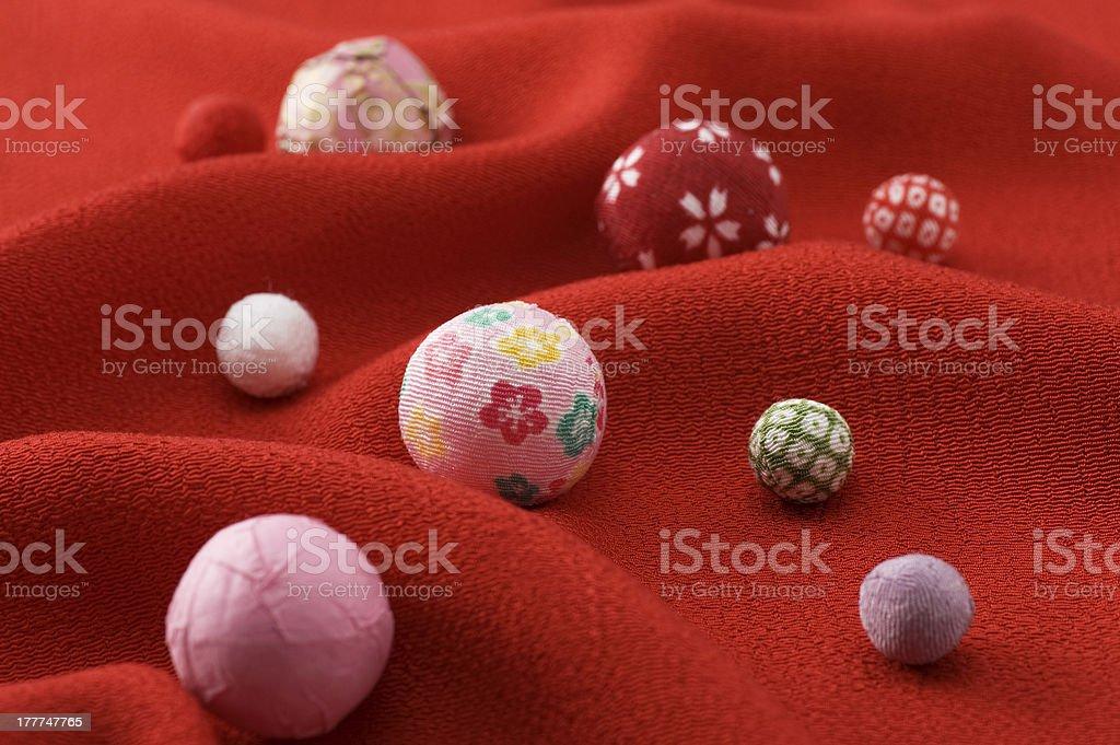 Temari and cloth stock photo