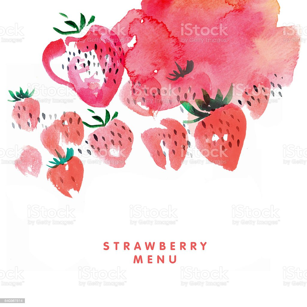 temlate for menu. strawberry watercolor illustration on white ba stock photo