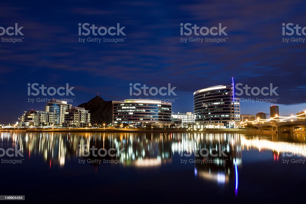 Tempe, Arizona downtown with lights royalty-free stock photo