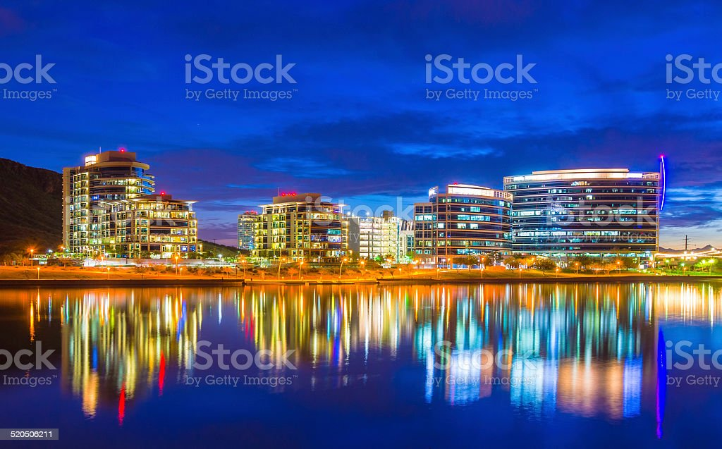 Tempe, Arizona skyline at dusk with beautiful reflections stock photo