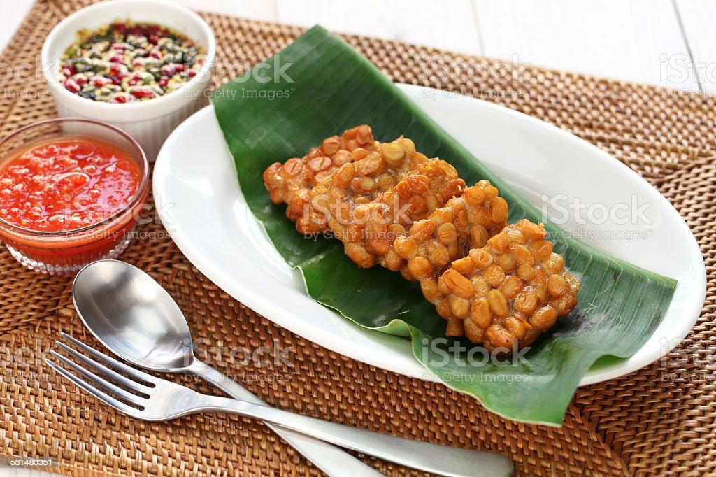 tempe goreng, fried tempeh, indonesian vegetarian food stock photo