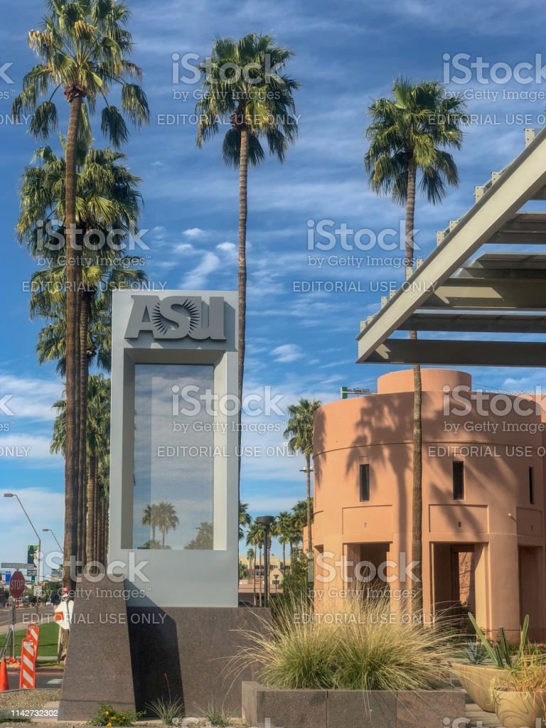 Tempe,Az/USA - 3.10.2019:  Arizona State University Tempe campus is the largest of four campuses that compose Arizona State University,  eight miles East of downtown Phoenix. stock photo