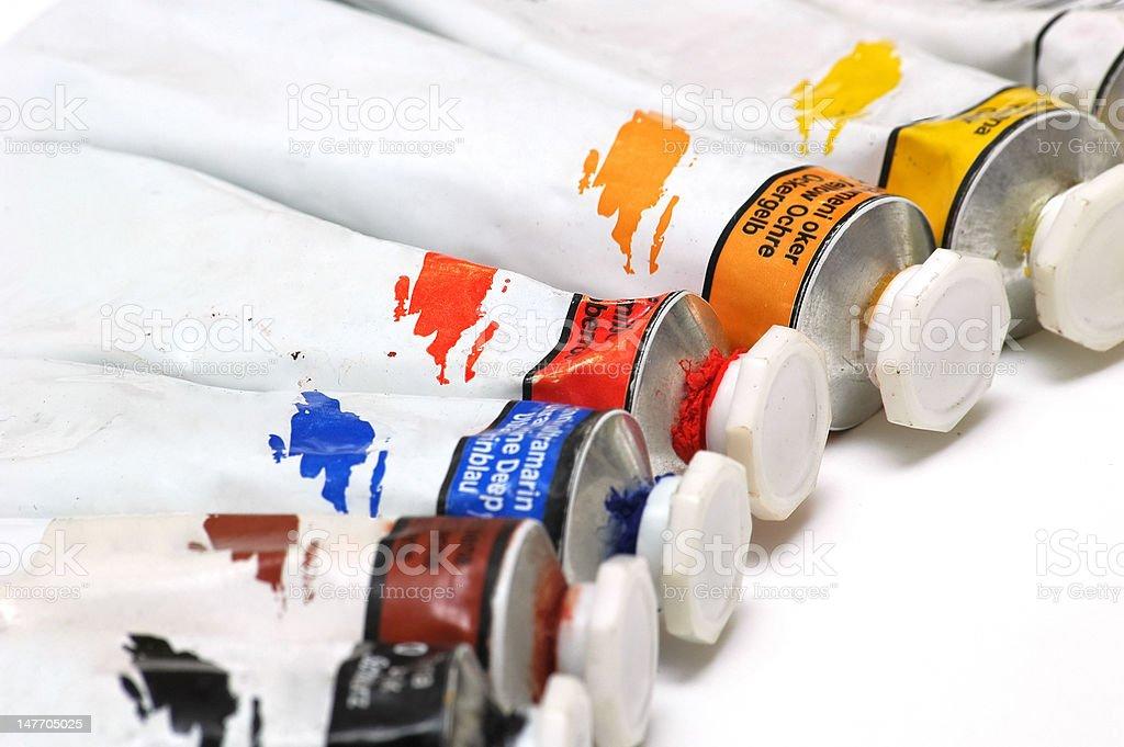 Tempera colour tubes stock photo