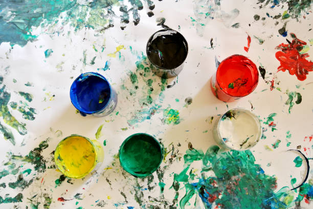 tempera jars - tempera painting stock pictures, royalty-free photos & images