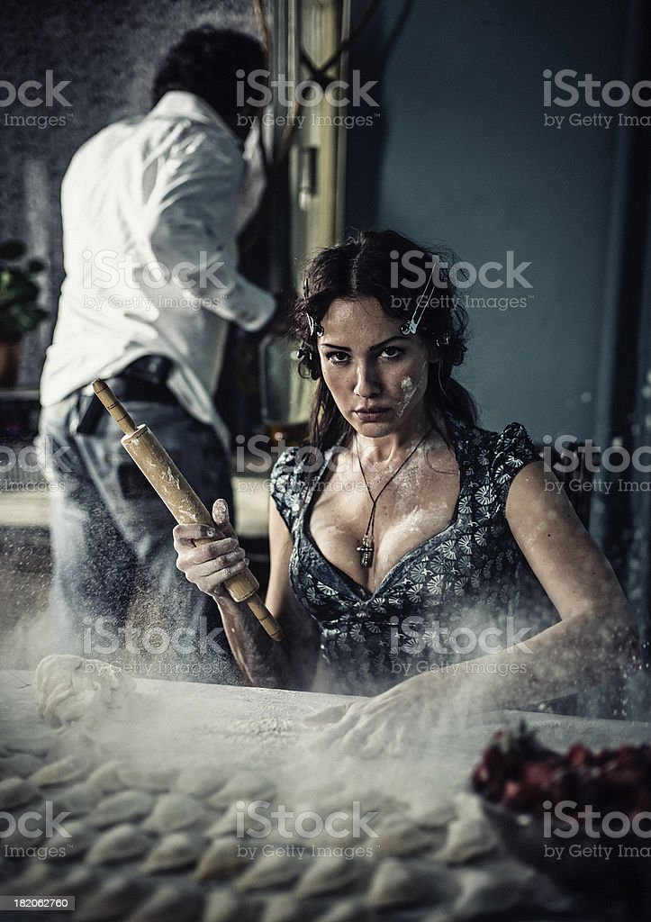 temperament of Italian woman stock photo