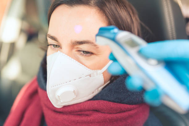 Temperature check point - the woman behind the wheel of the car in an anti-virus mask is subjected to temperature measurement. stock photo