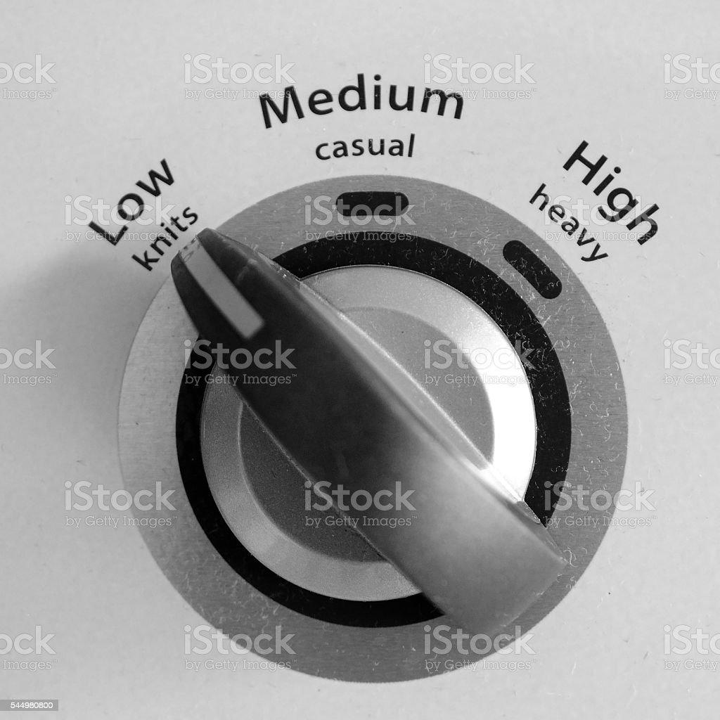 Temperature control for washing machine in monochrome type stock photo