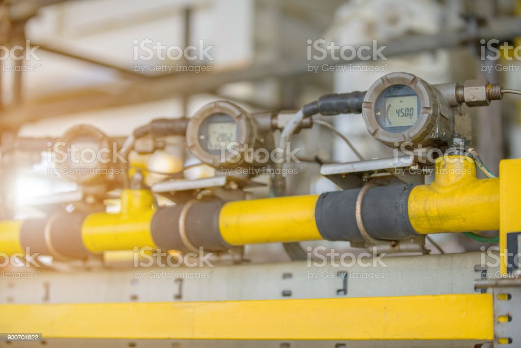 Temperature Transmitter Gauge At Offshore Oil And Gas Construction