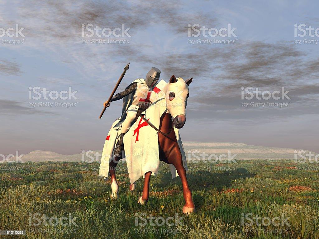 Templer Ritter auf Pferd – Foto