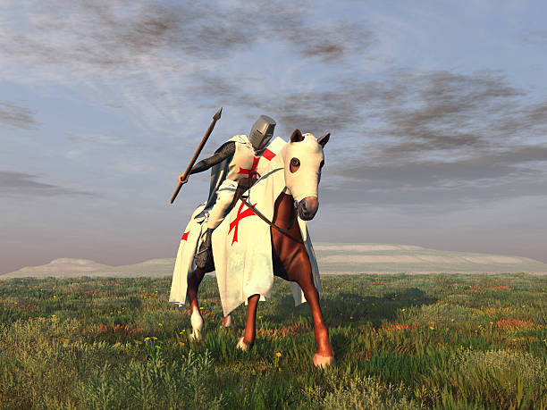 Templar Knight on horseback stock photo