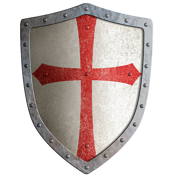 templar or crusader knight's metal shield isolated - the crusades stock photos and pictures