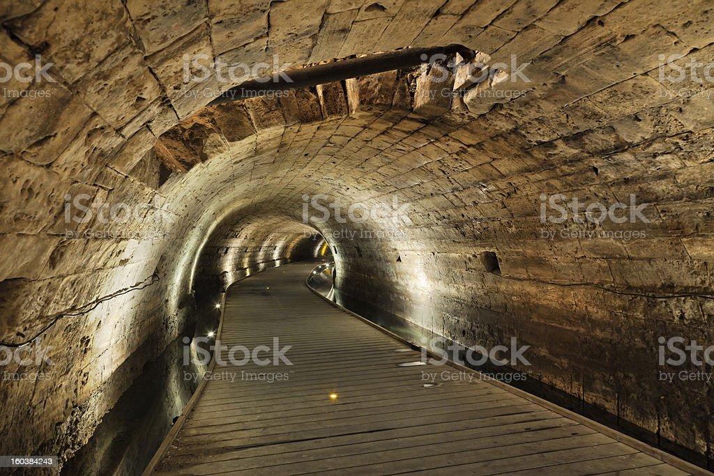 Templar Tunnel in Acco stock photo