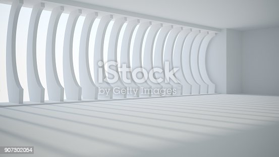 istock Template abstract empty architectural space 907302054