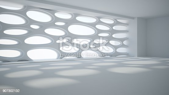 istock Template abstract empty architectural space 907302132