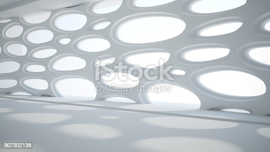 istock Template abstract empty architectural space 907302138