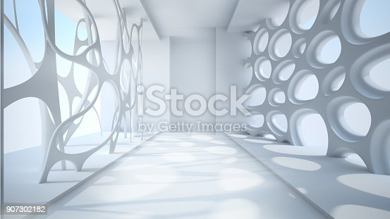 istock Template abstract empty architectural space 907302182