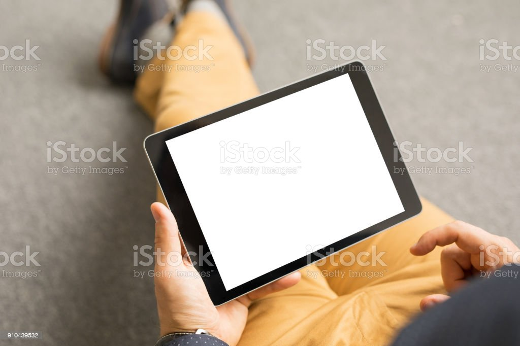 Template and mockup for tablet app design, horizontal screen orientation stock photo