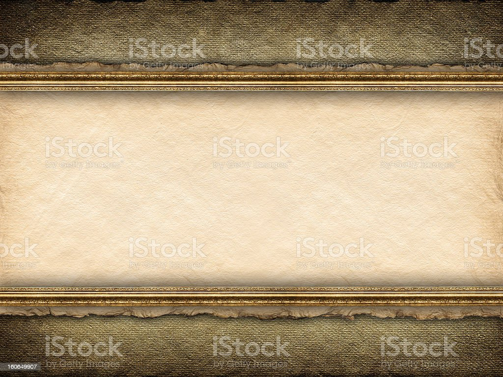 Template background - picture frame, old paper and canvas royalty-free stock photo