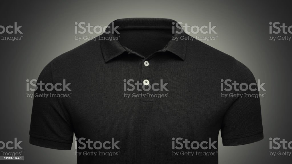 Template black Polo shirt concept closeup front view. Polo T-shirt mockup with empty space on collar for your brand stock photo