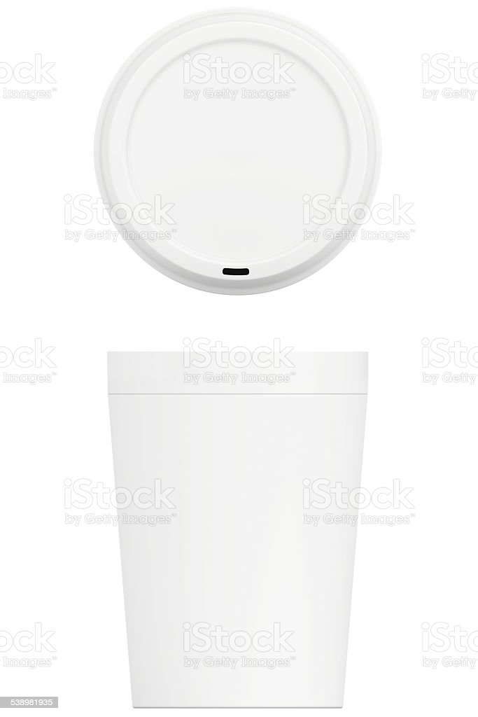 Template coffee cup with cap isolated on white background stock photo