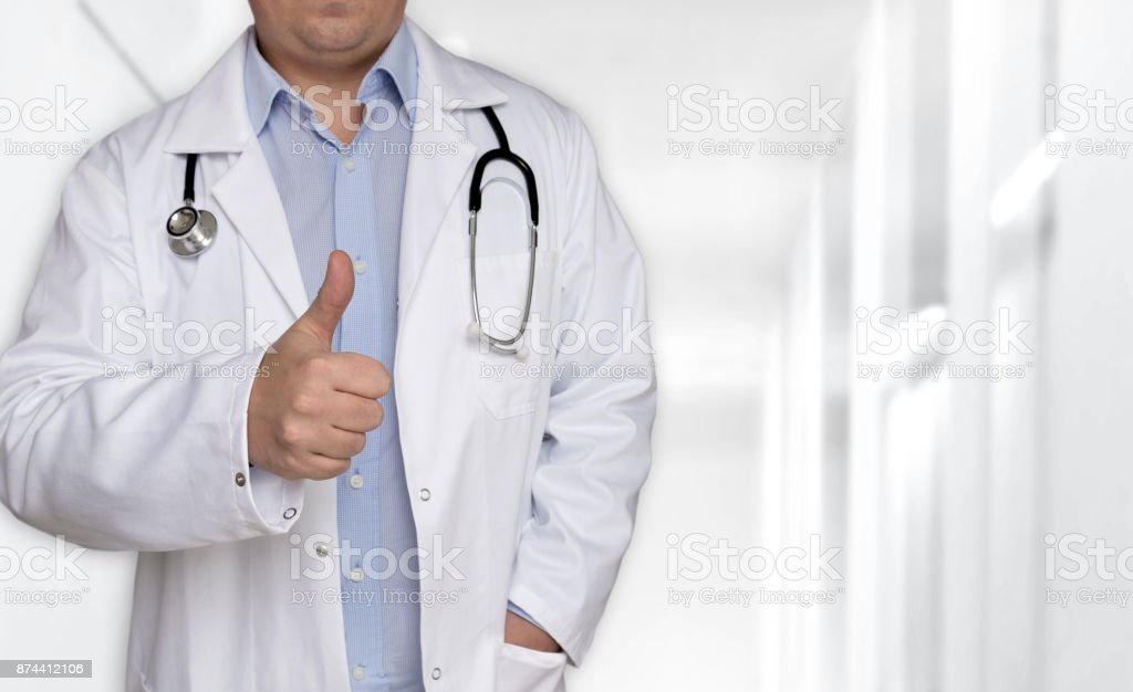 Template concept and doctor with thumbs up stock photo