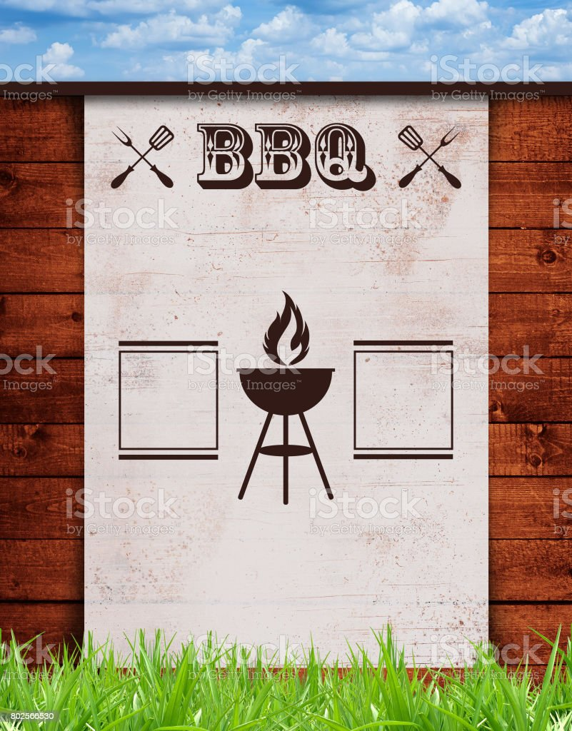 Template Flyer for a BBQ weekend, Old white paper, against a wood wall, American style, blank copy space. stock photo