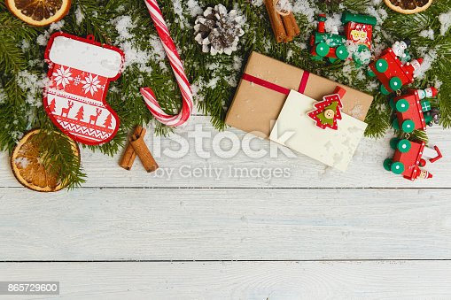 istock Template for New Year space for text. Mockup for advertising, congratulations 865729600