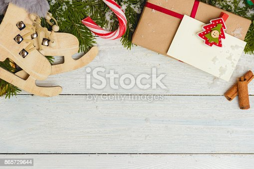 istock Template for New Year space for text. Mockup for advertising, congratulations 865729644