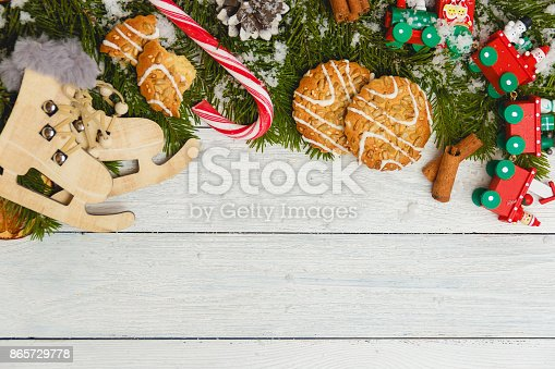 istock Template for New Year space for text. Mockup for advertising, congratulations 865729778