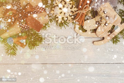 istock Template for New Year space for text. Mockup for advertising, congratulations 866789282