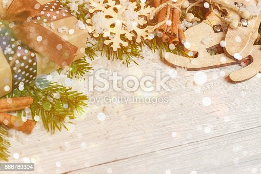 istock Template for New Year space for text. Mockup for advertising, congratulations 866789304