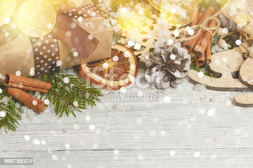 istock Template for New Year space for text. Mockup for advertising, congratulations 866789324