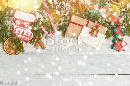 istock Template for New Year space for text. Mockup for advertising, congratulations 866789432