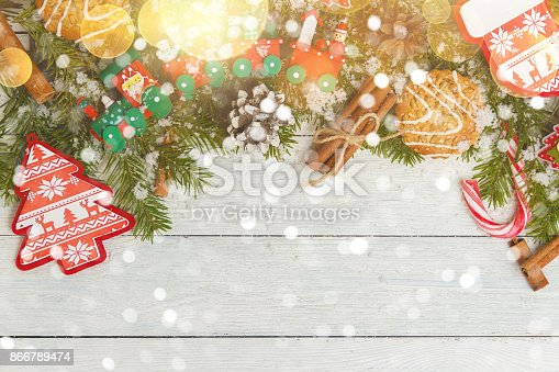 istock Template for New Year space for text. Mockup for advertising, congratulations 866789474
