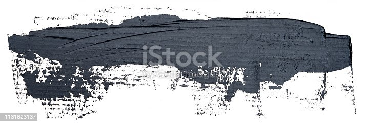 598092096istockphoto Template for your banner text - long textured black oil paint brush stroke, isolated on white background. 1131823137