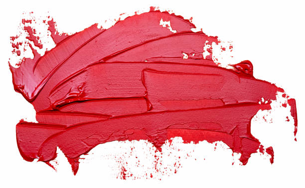 template for your banner text - textured red oil paint brush stroke, isolated on white background. red lipstick sample. - paint texture stock pictures, royalty-free photos & images