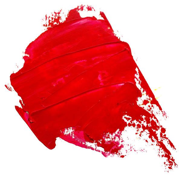Vorlage für Ihre Banner-Text - Strukturlack rot Öl Pinselstrich, sieht aus wie Sprechblase, isoliert auf weißem Hintergrund. Roter Lippenstift Probe. – Foto