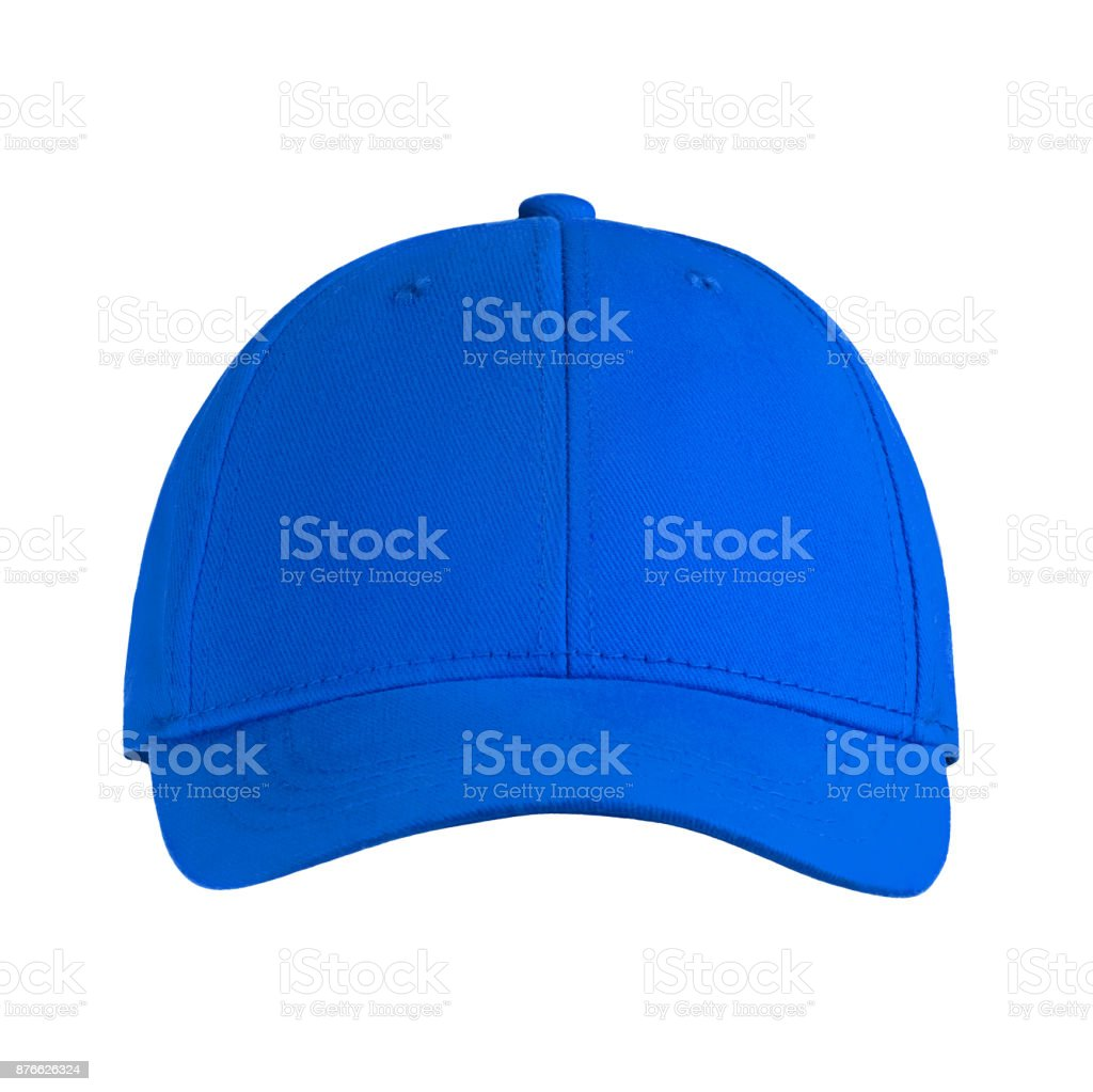 template for your design blank blue baseball cap isolated on white background with clipping path stock photo