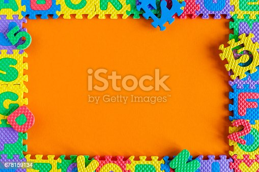 istock Template - frame of child toy puzzle with empty space for text or photo. Illustration of a child's life concept 678159134
