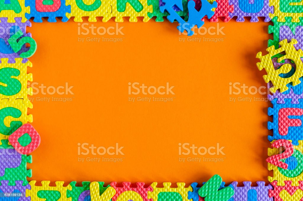 Template - frame of child toy puzzle with empty space for text or photo. Illustration of a child's life concept stock photo