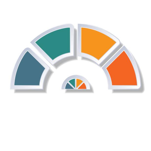 modèle infographique, diagramme de demi-cercle avec 4 éléments multicolores autour centre - demi cercle photos et images de collection