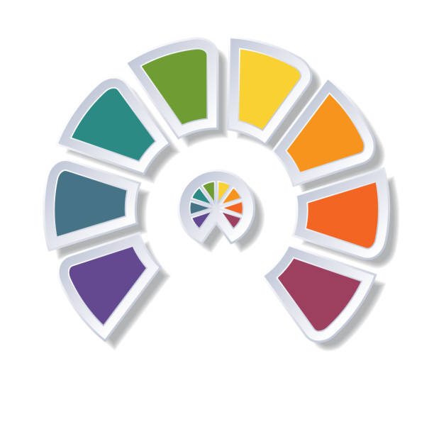 template infographic, semicircle diagram with 8 multicolored elements around center - 8 infographic stock photos and pictures