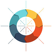 Template Infographics cyclic processes, colour ring from arrows 8 positions for text area