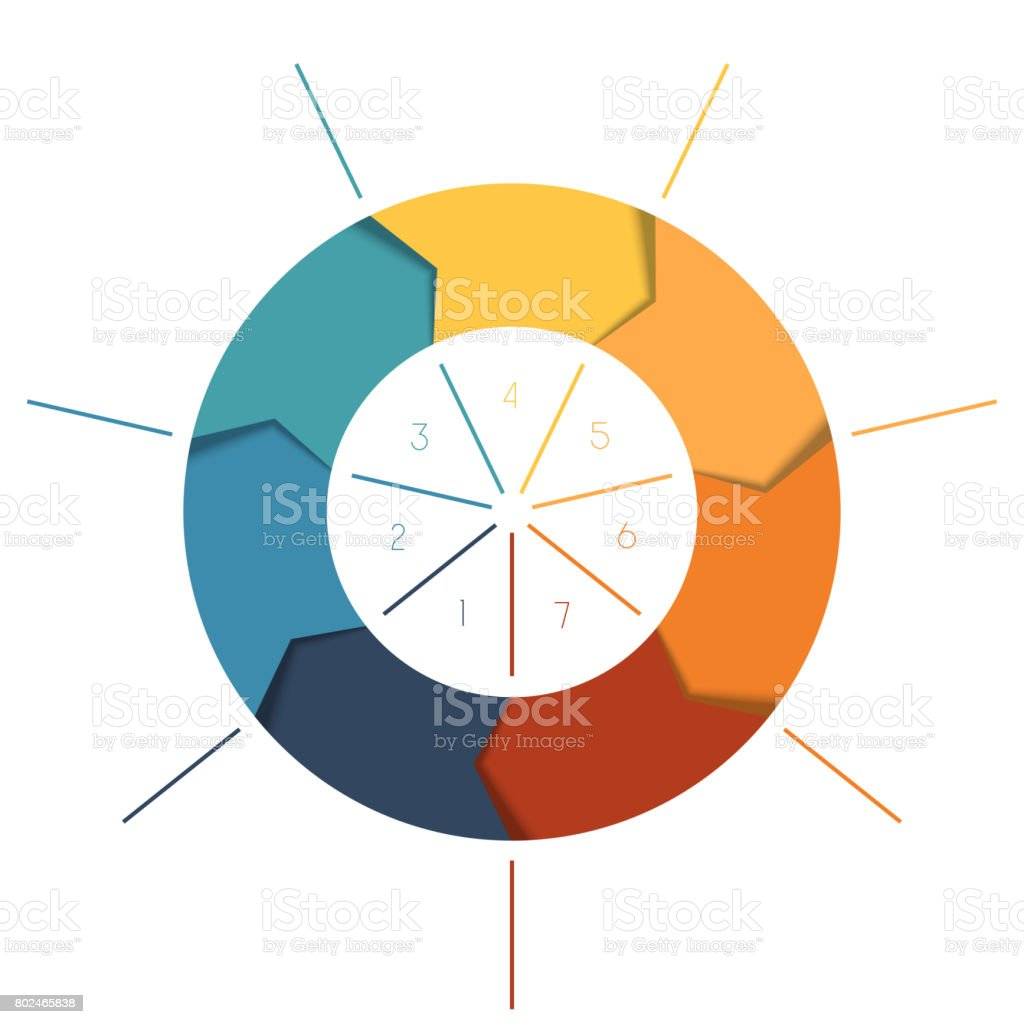 Template Infographics cyclic processes, colour ring stock photo